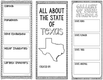 Texas - State Research Project - Interactive Notebook - Mini