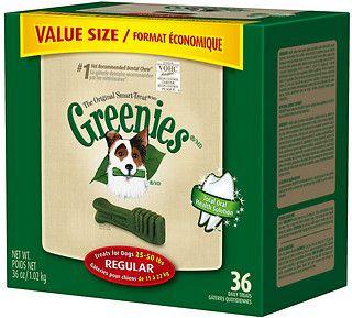 Greenies Regular Dental Dog Treats 12 Count Chewy Com Dog Dental Chews Greenies Dog Dental