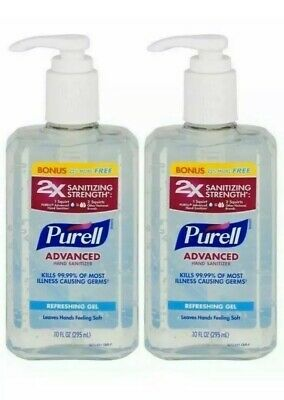2 Pack Purell Advanced Hand Sanitizer 10oz Refreshing Gel 2x