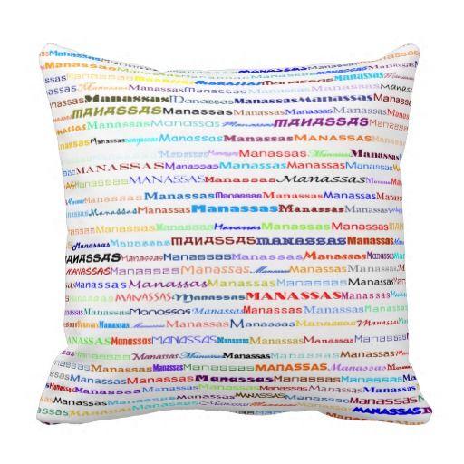 Manassas Text Design II Throw Pillow