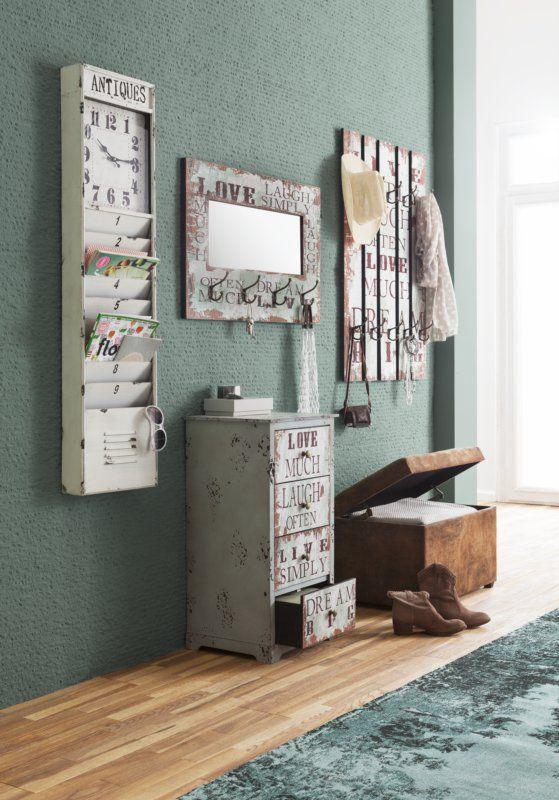 Forever Vintage - Wandgarderobe: MDF im Vintage-Look - weiße Haken - ca. 30 x 60 x 12 cm - Produktnummer: 429056-850-00-056