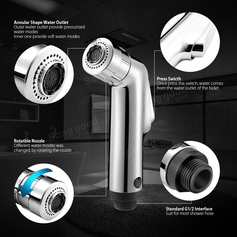 KCASA™ Double Modes Pressurize Bidet Shower Toilet Seat Shattaf Bathroom Kitchen Shower Head Sprayer at Banggood