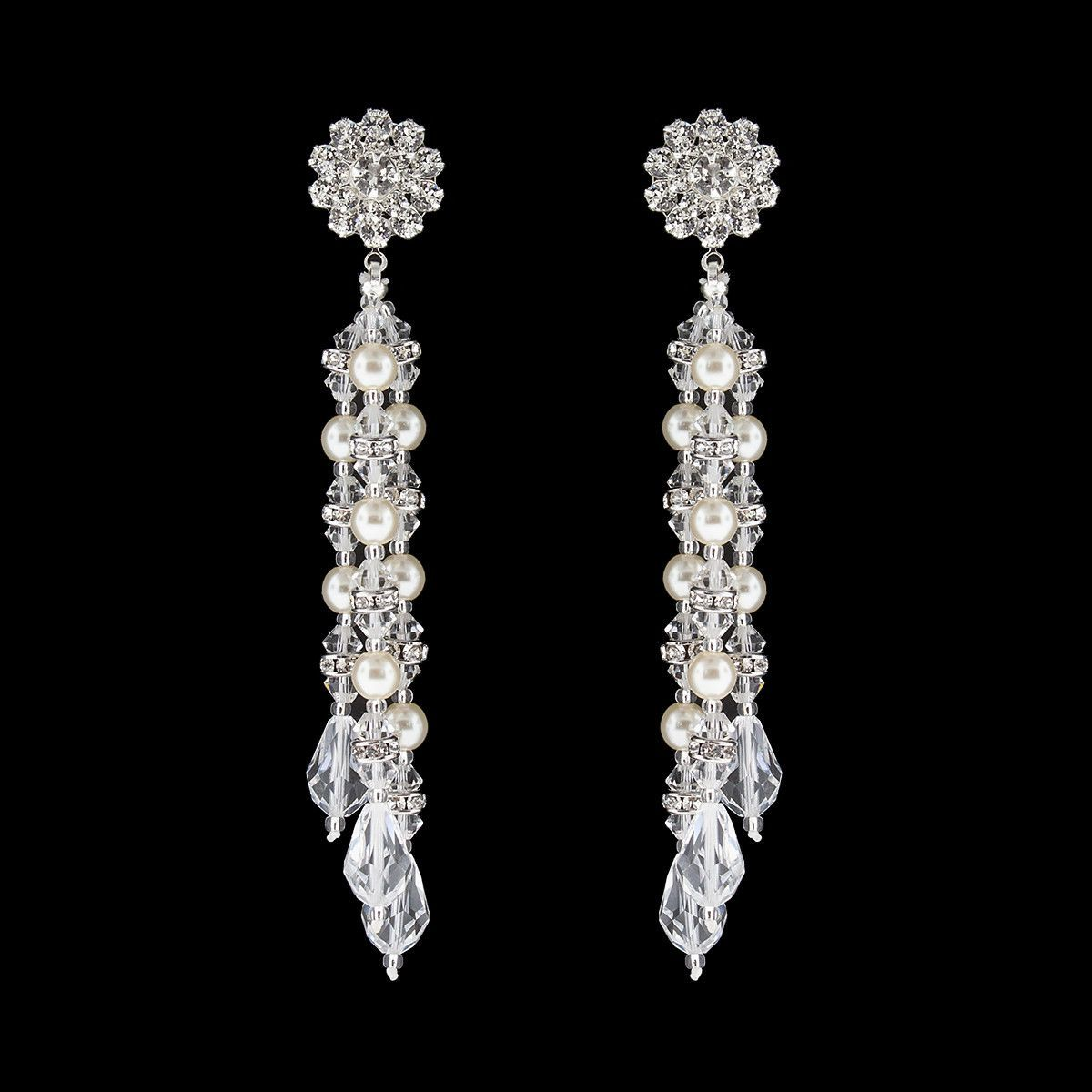 Multi-Drop Pearl & Crystal Earrings | Bridal Earrings ...