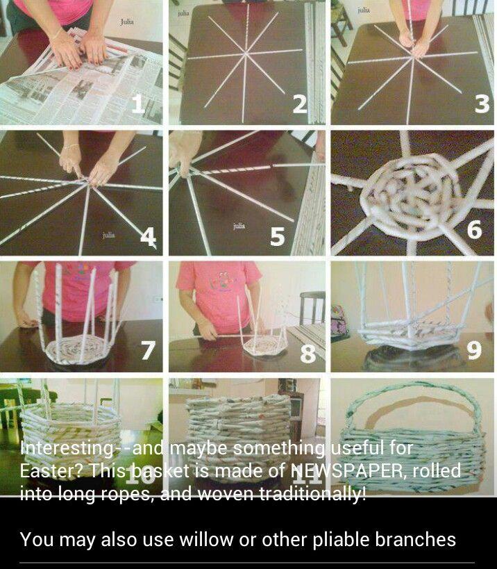 rolled newspaper basket crochetknitsew make pinterest crafts