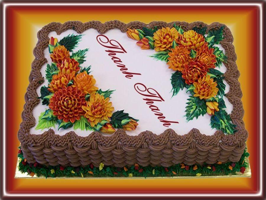 Buttercream Mums Thanksgiving cakes, Sheet cakes