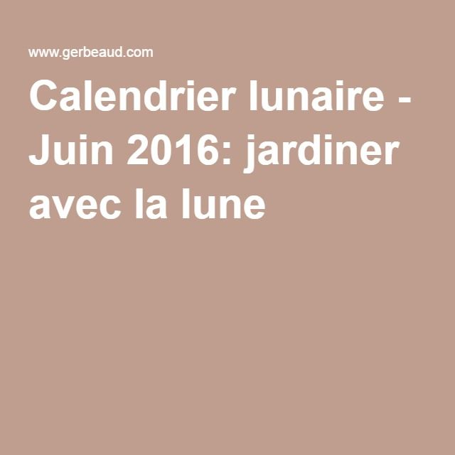 calendrier lunaire juin 2016 jardiner avec la lune potager en hauteur pinterest. Black Bedroom Furniture Sets. Home Design Ideas