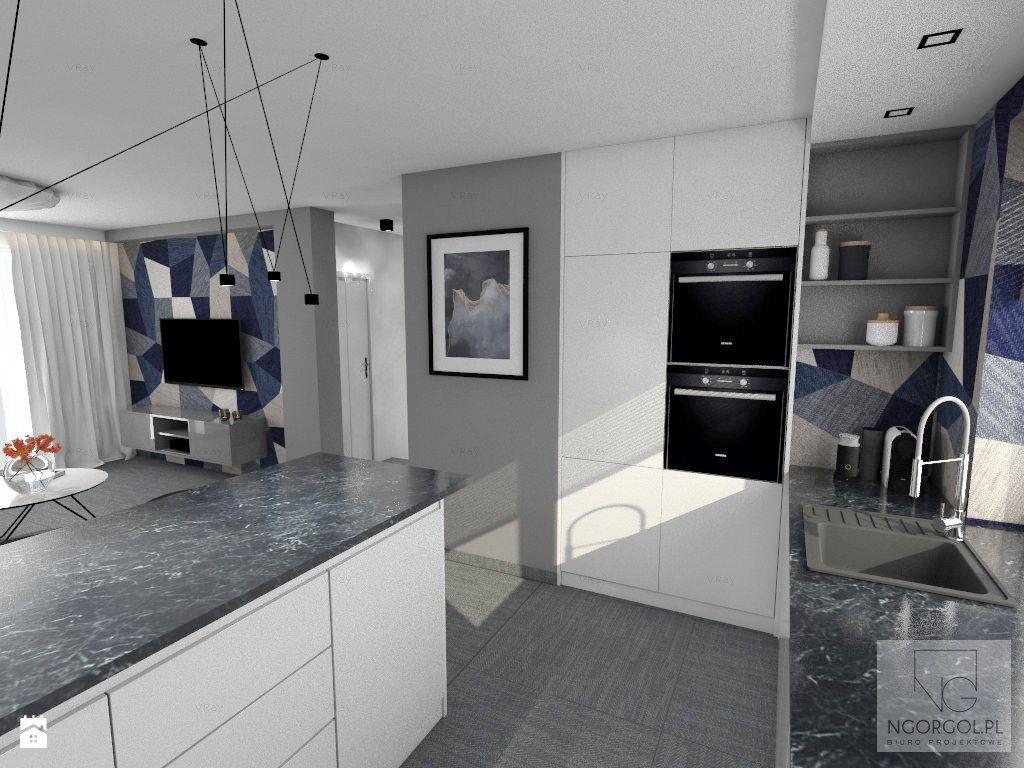 """Monochromatyczny salon, stanowiący tło dla ,,mocnych"""" płytek :) - zdjęcie od NGORGOL - Kuchnia - Styl Nowoczesny - NGORGOL"""