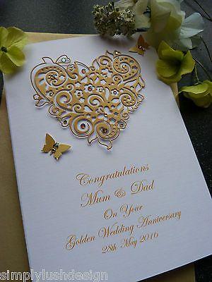 Personalised Handmade Luxury Golden 50th Wedding Anniversary Card Hand Made Car Anniversary Cards Handmade Wedding Cards Handmade Wedding Anniversary Cards