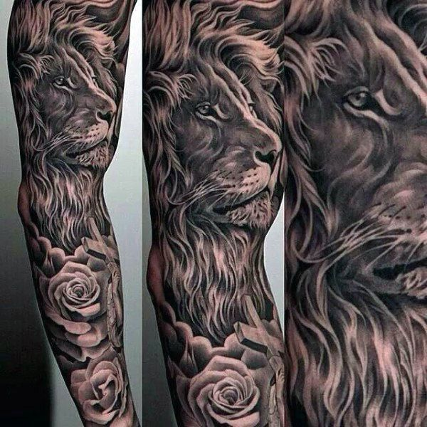 Manly Guys Full Sleeve Lion Tattoos Lion Tattoo Sleeves Mens Lion Tattoo Animal Tattoos For Men