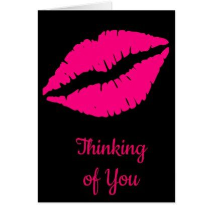 Attractive Pink Lipstick Pop Art Card   Girly Gifts Special Unique Gift Idea Custom