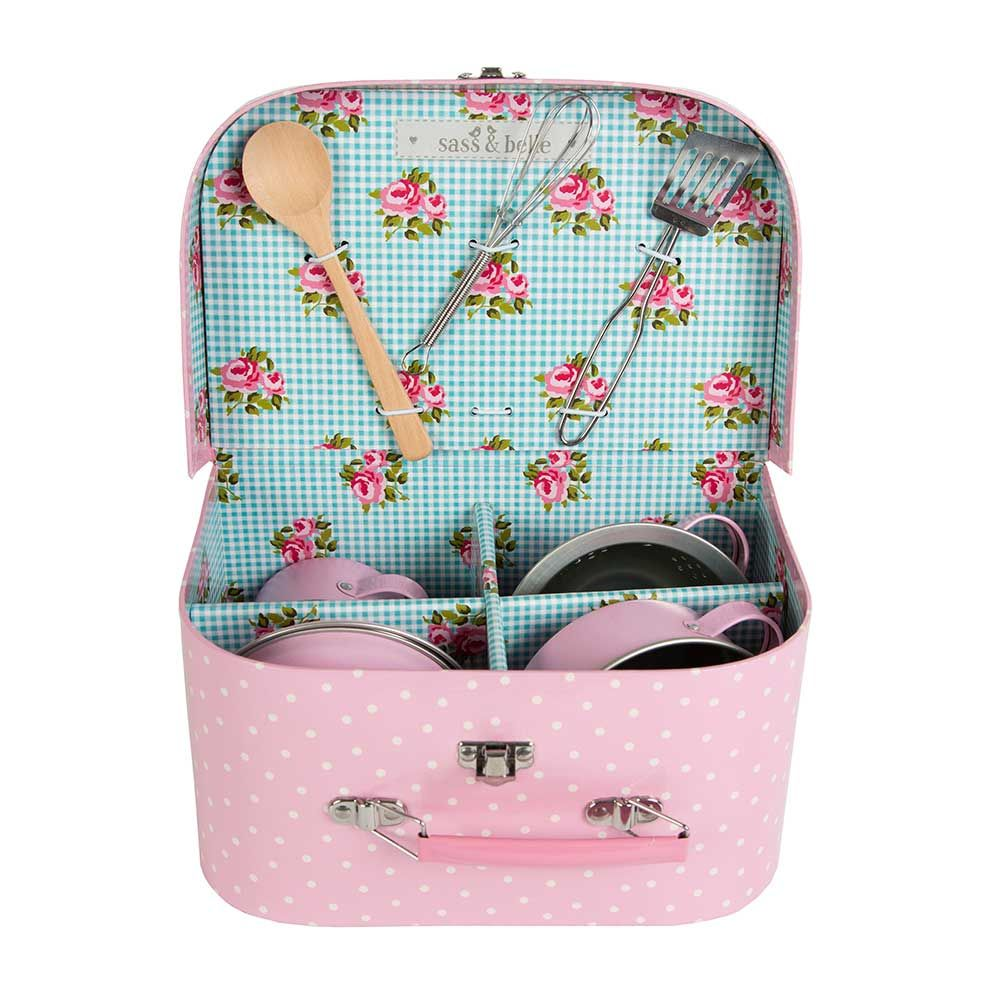 This cute pink polka dot suitcase doubles up as a mini kitchen with ...