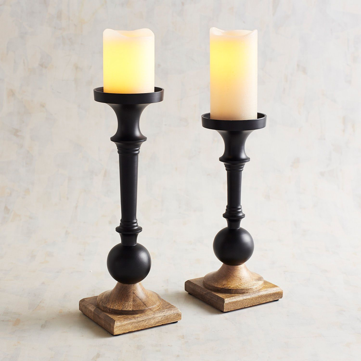 Black wood pillar candle holders candle holders pinterest