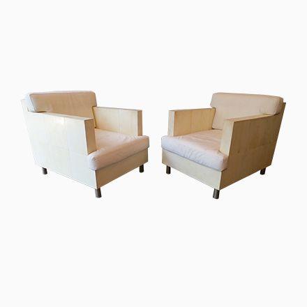 Französische Vintage Sessel aus Pergament  Leder von RY Augousti - wohnzimmer rot grau beige