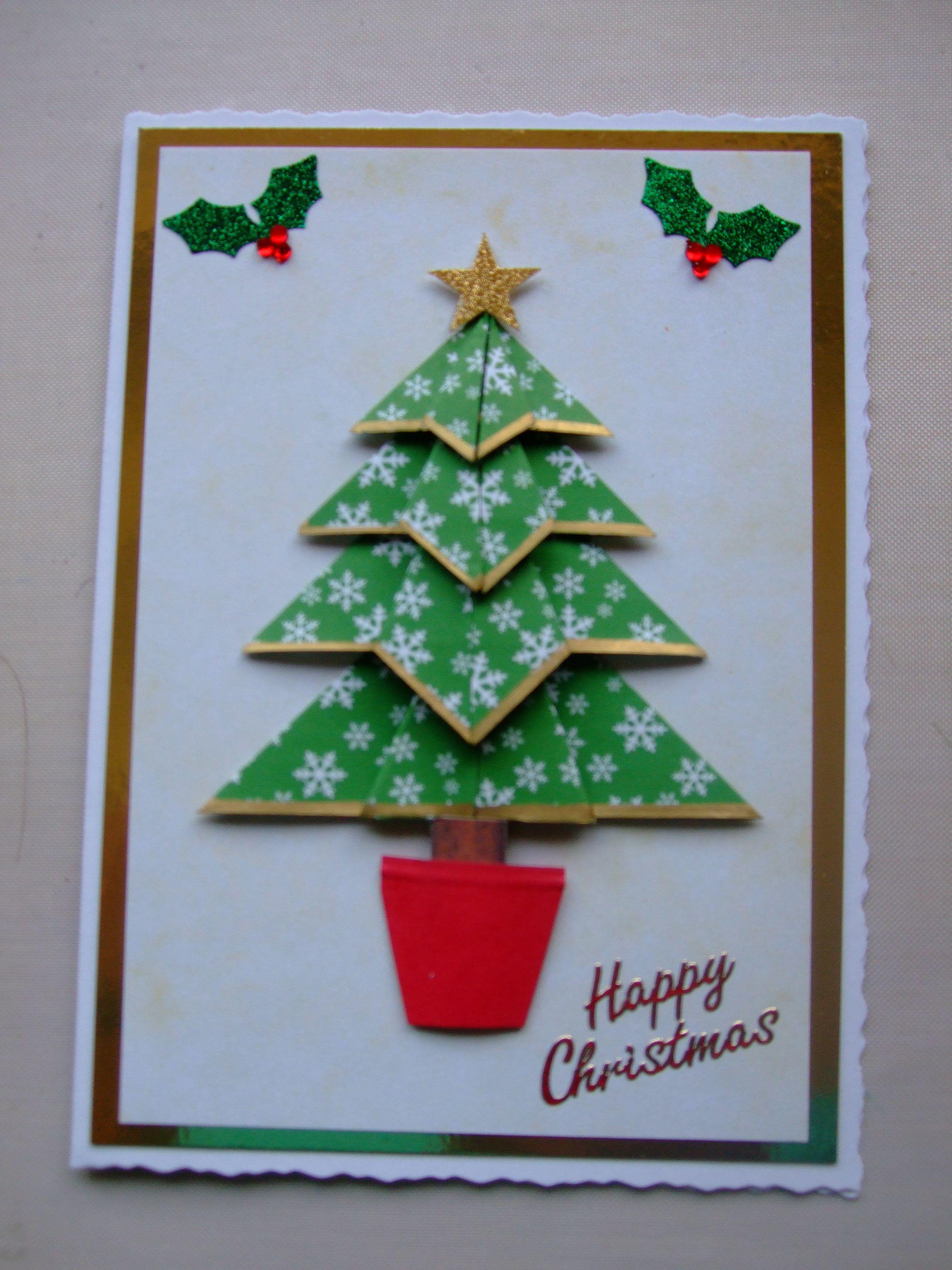 Teabag Folded Xmas Tree Christmas Card Ornaments Traditional Christmas Greetings Christmas Cards
