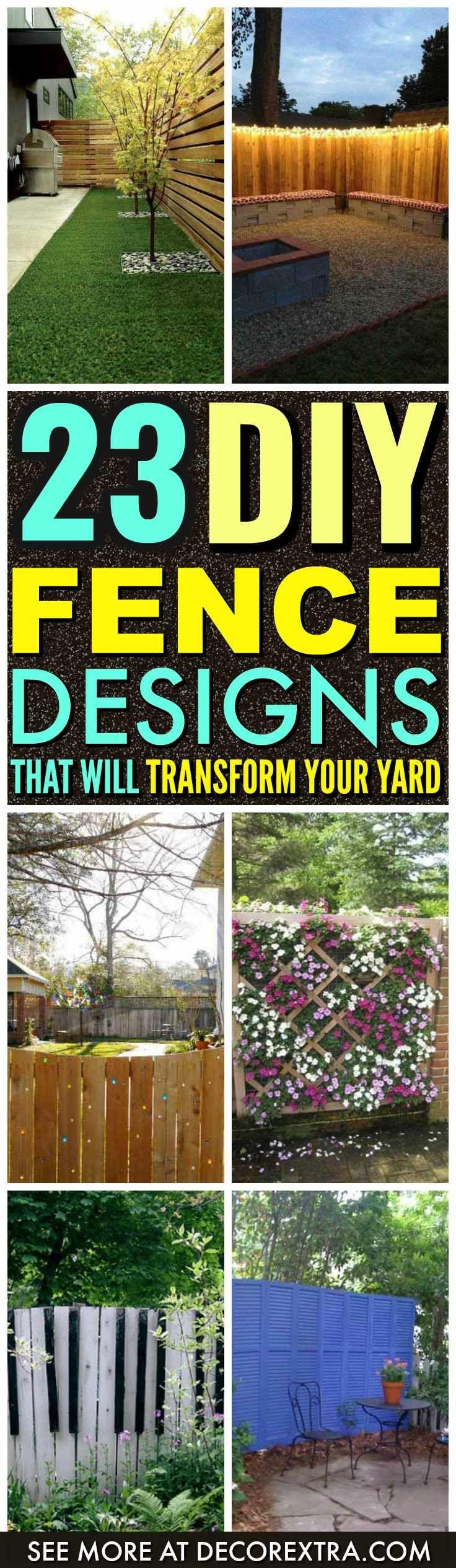 23 kreative DIY Zaun Design-Ideen | Diy backyard fence, Backyard ...
