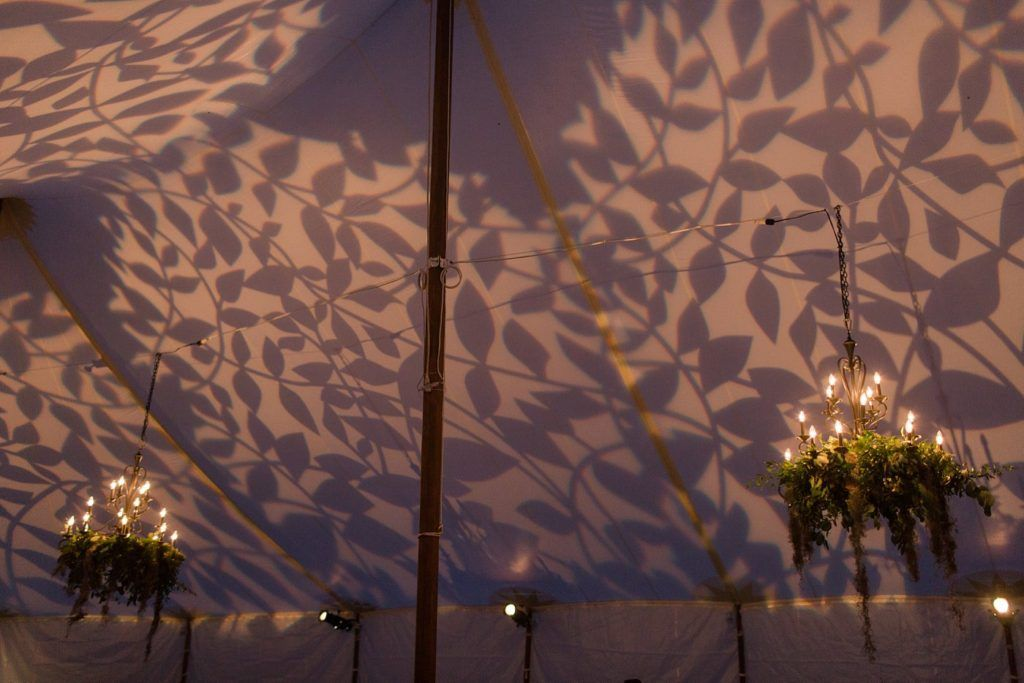 Leaf Patterning Projected Onto Our Sailcloth Tent Using
