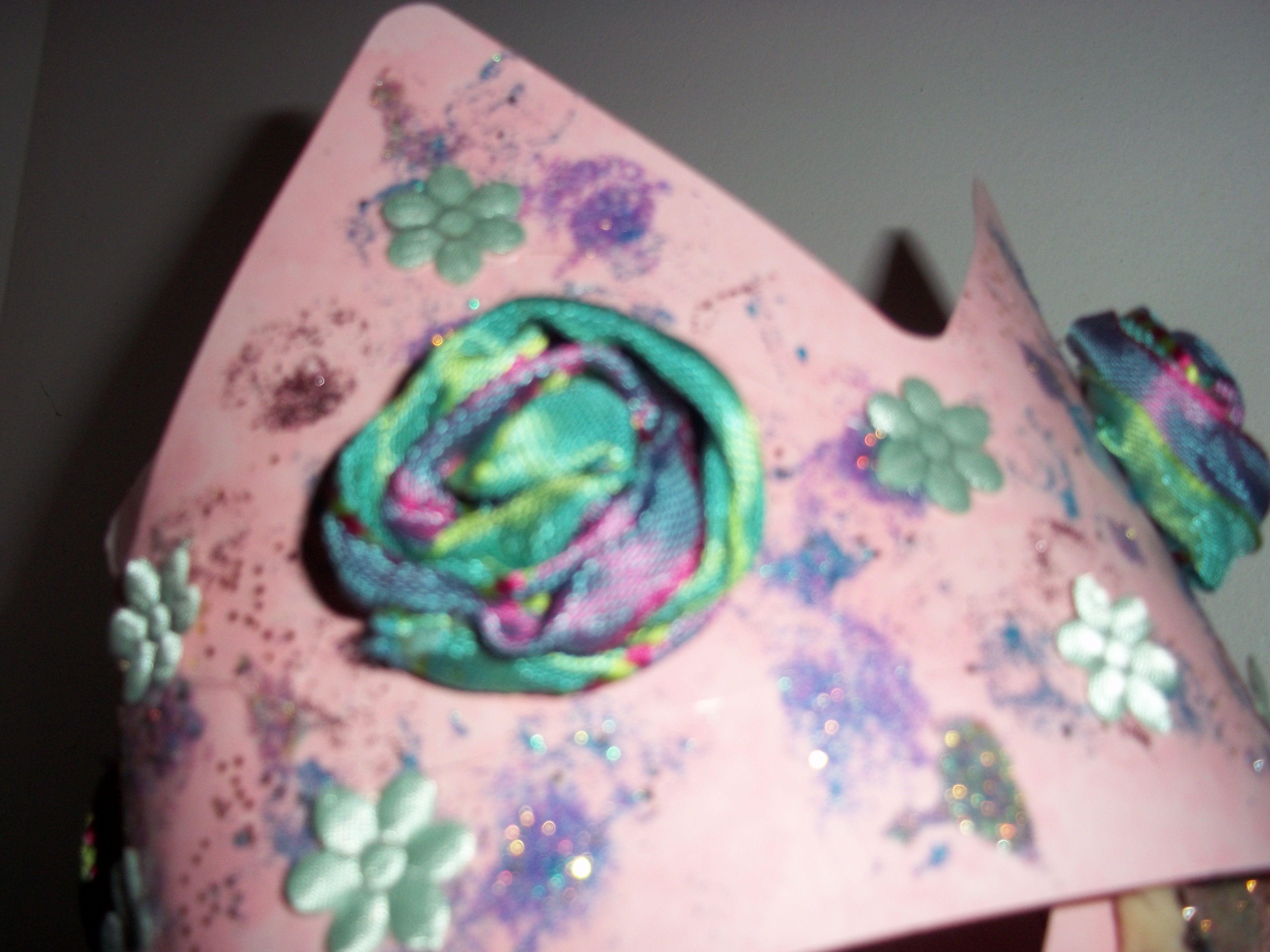 mixed media crown ,paper paint,fabric ribbon