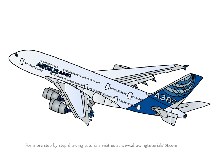 Learn How to Draw Airbus A380 (Airplanes) Step by Step ...