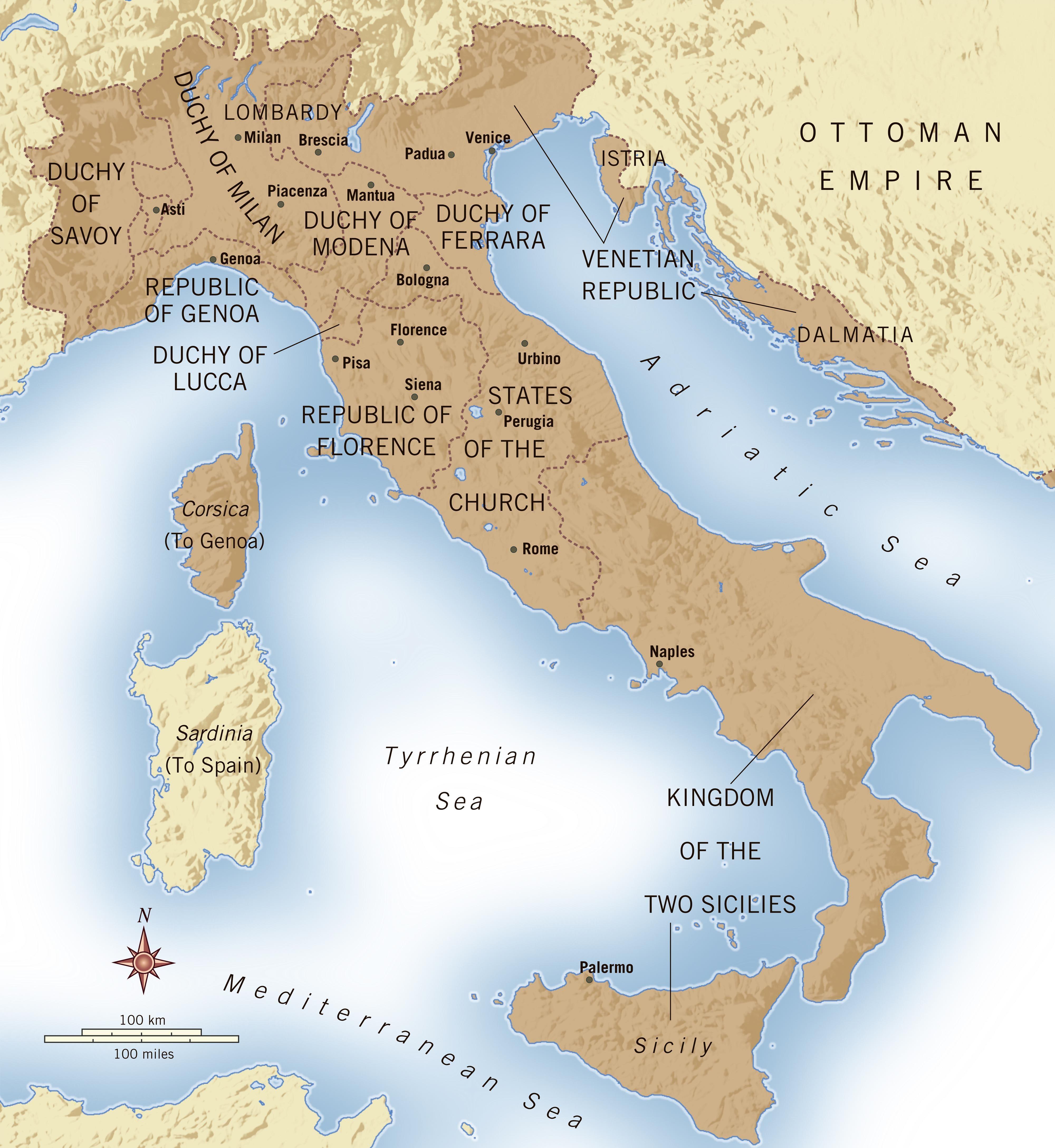 Map 71 Major Italian CityStates during the Renaissance