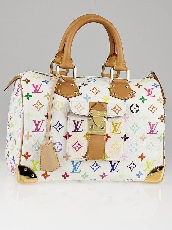 375b4f0edb12 Louis Vuitton White Monogram Multicolore Speedy 30 Bag