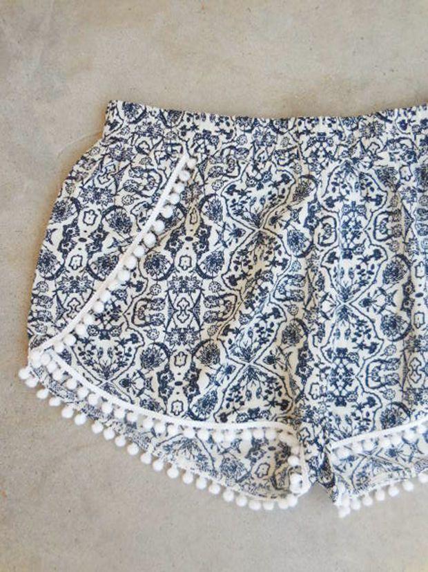 Seaside Shorts in Navy Pom Pom [7302] - $21.60 : Feminine, Bohemian, & Vintage Inspired Clothing at Affordable Prices, deloom