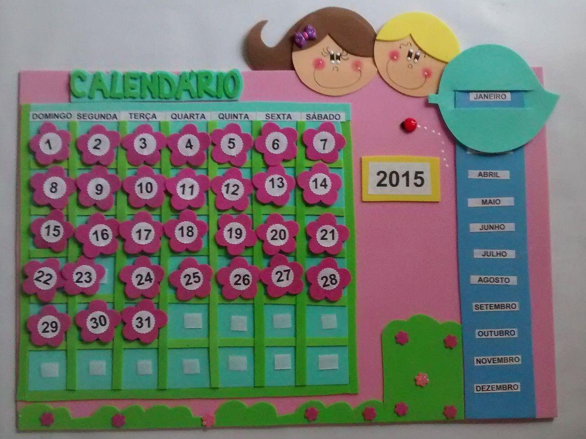 Excepcional Calendário em eva | Decorações de sala, Sala de aula e Decoração de EM98