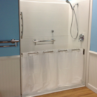 Caregiver Attendant Shower Curtain Closed Shower Roll In