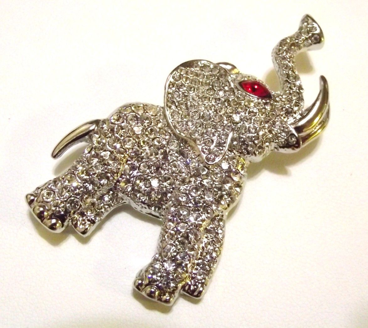 Couture Clear Swarovski Crystal Elephant Brooch Pin