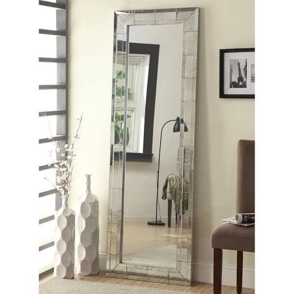 About this item Features Contemporary in style with a mirrored frame, the mirror includes beveled edges The antique silver finish gives this floor mirror eclectic, vintage appeal This full length mirr