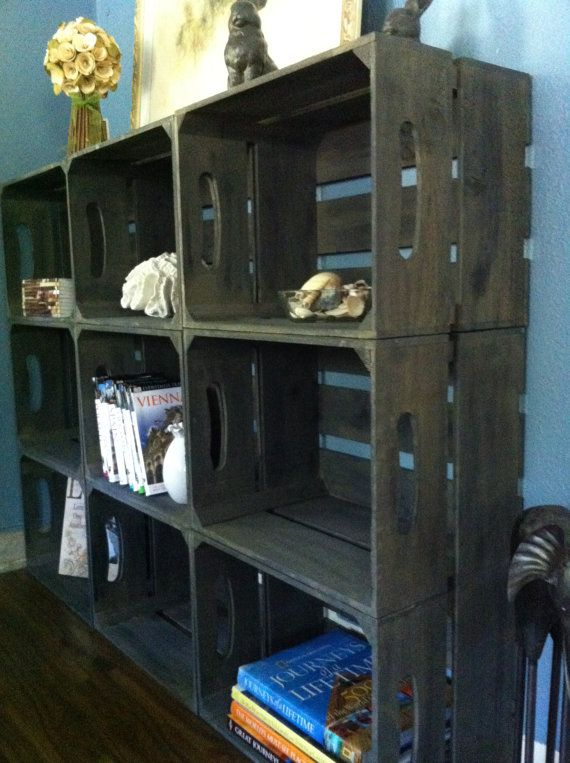 15PC Rustic Wooden Apple Crate Bookshelf With Brackets