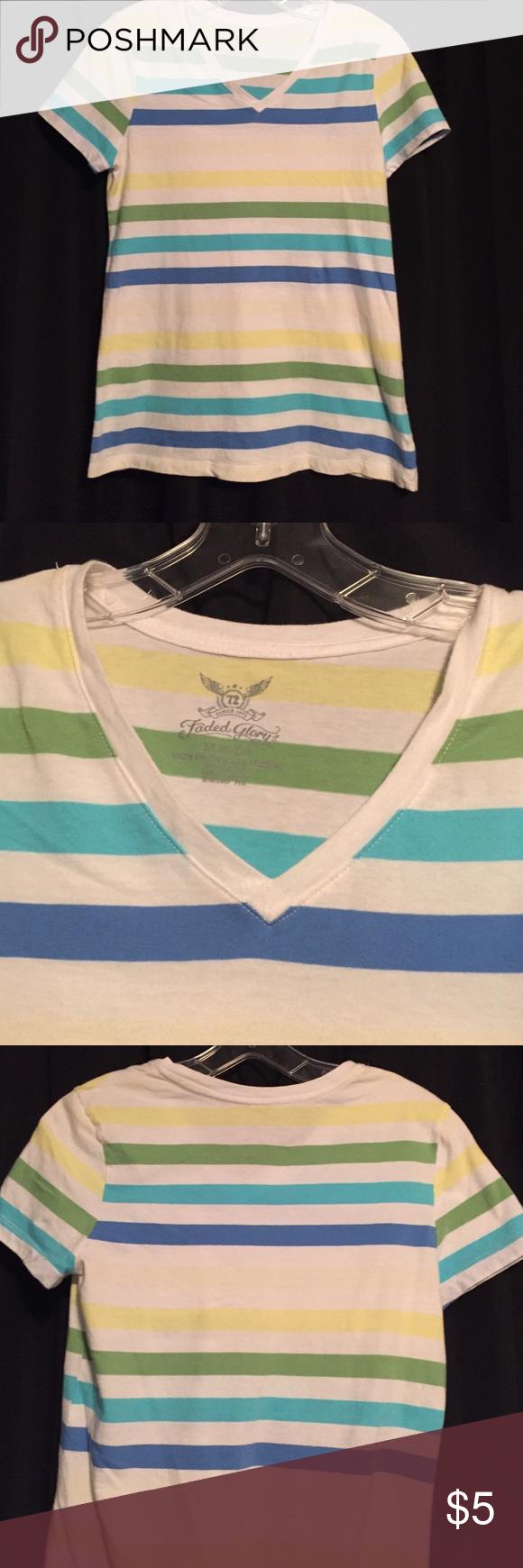 Multicolor Vee tee shirt Multicolor Vee tee shirt. 100% cotton Faded Glory Tops Tees - Short Sleeve