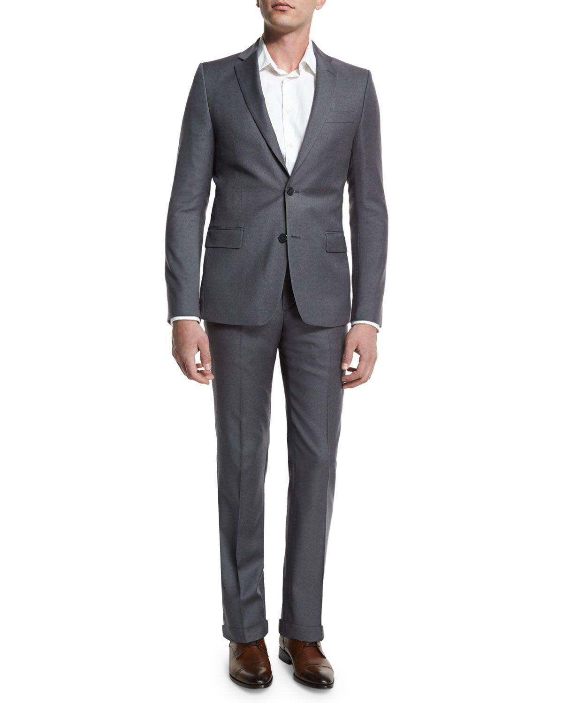 Pinstripe Two-Piece Suit, Light Gray, Men's, Size: 52 ...