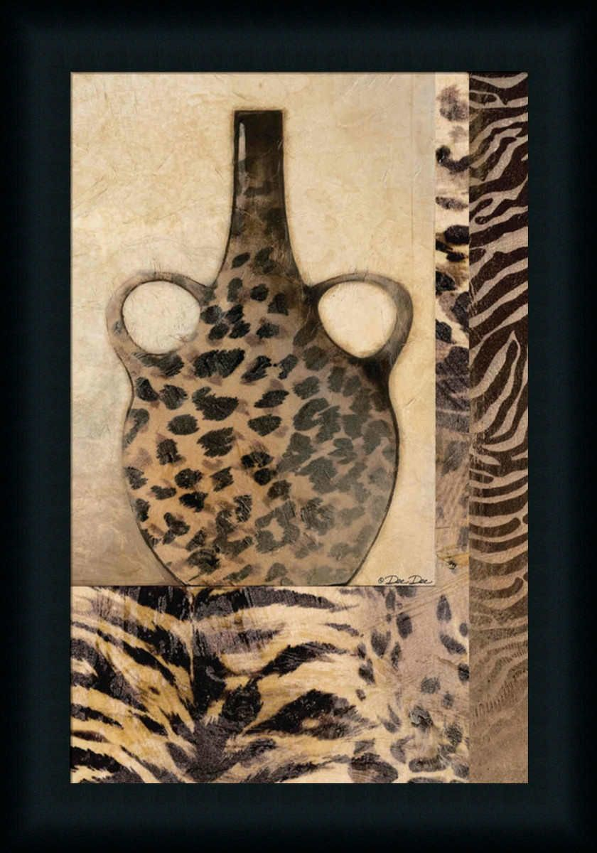 Cheetah Vase Animal Print Wall Decor Art Framed