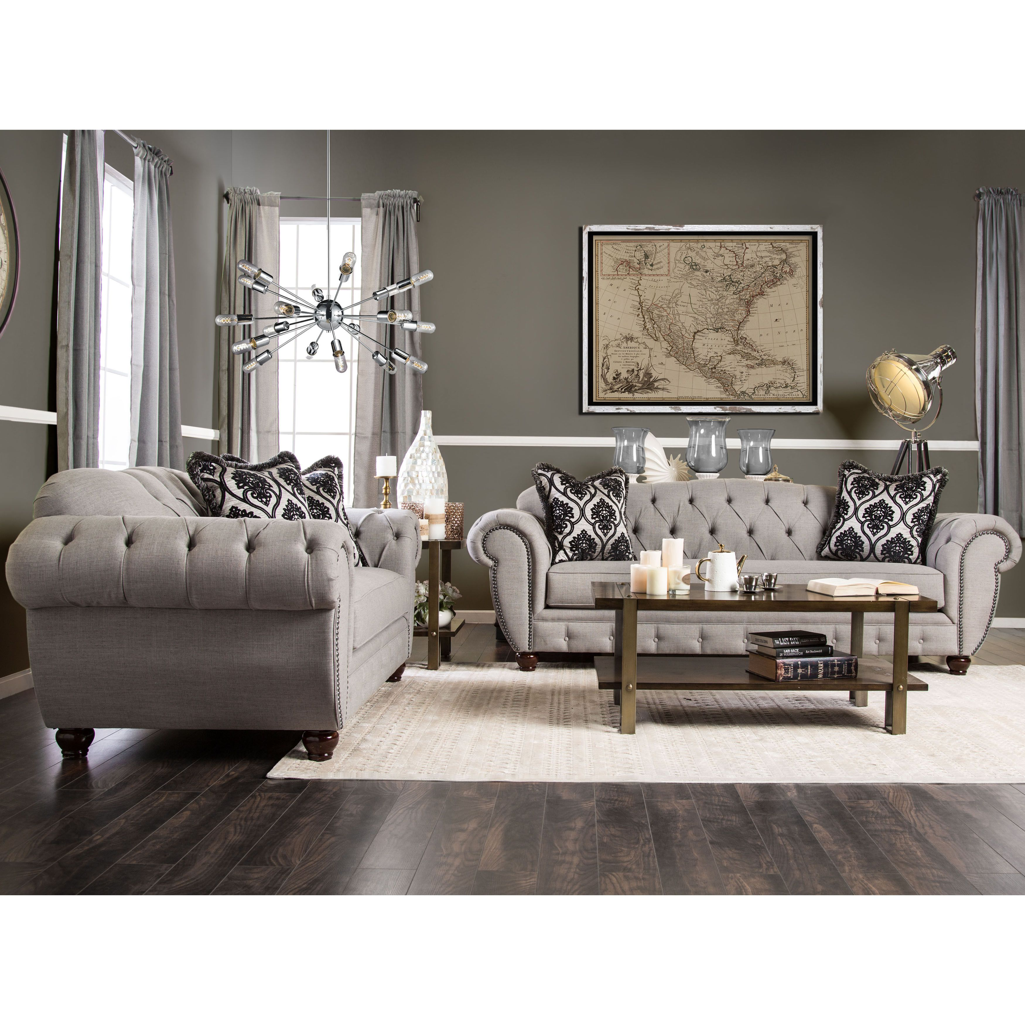 Furniture of America Augusta Victorian 2 piece Sofa Set