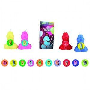 VELA PITO NÚMEROS PEQUEÑO . Vela en forma de pene con números adhesivos. 100% de parafina refinada.  Las velas deben arder siempre en posición vertical.  Ideal para regalar.  El color puede variar. http://www.sexfrodisia.com/para-regalar/13706-vela-pito-numeros-pequeNo.html