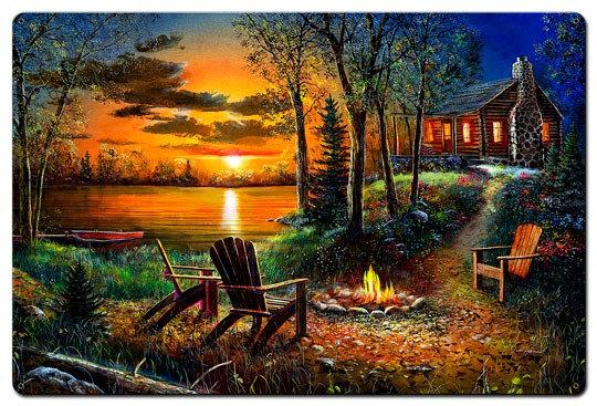 """/""""Fireside/"""" By Jim Hansel Hang Framed Print Black Frame"""