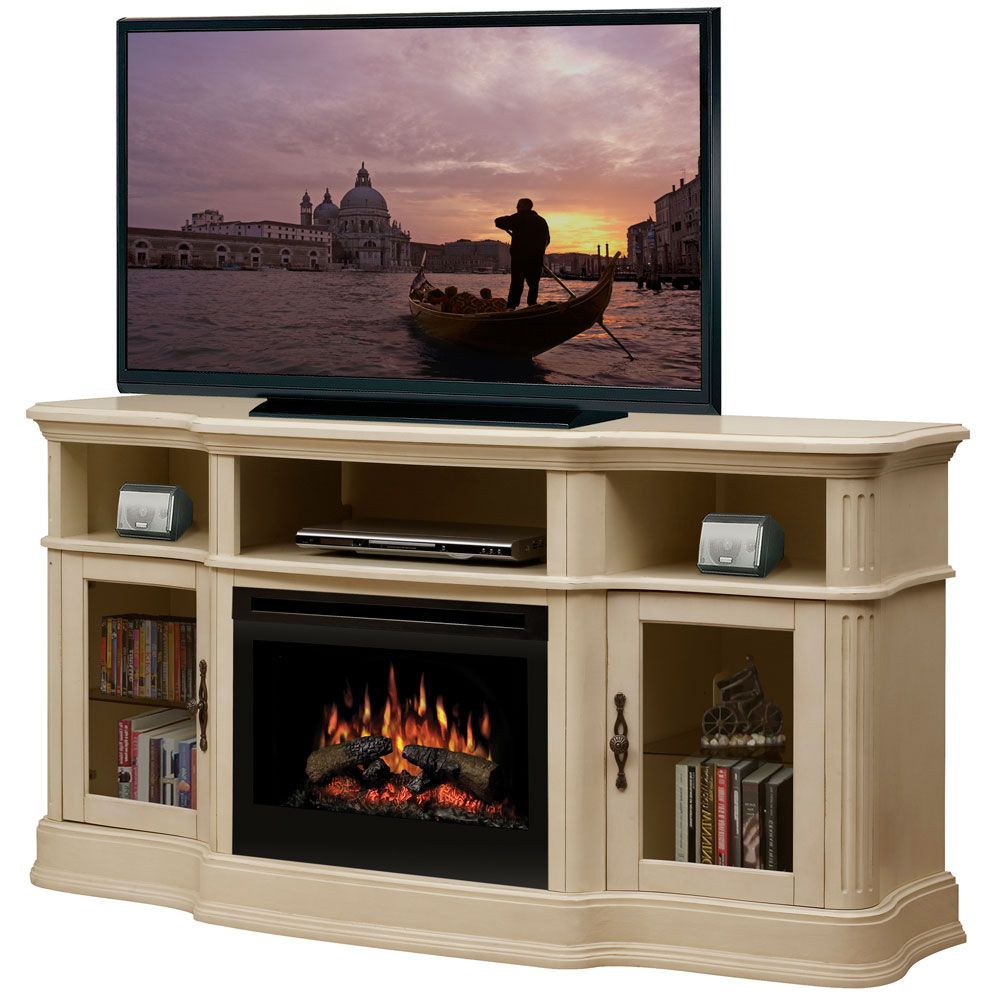 dimplex portobello parchment electric fireplace media console with logs gds251245p