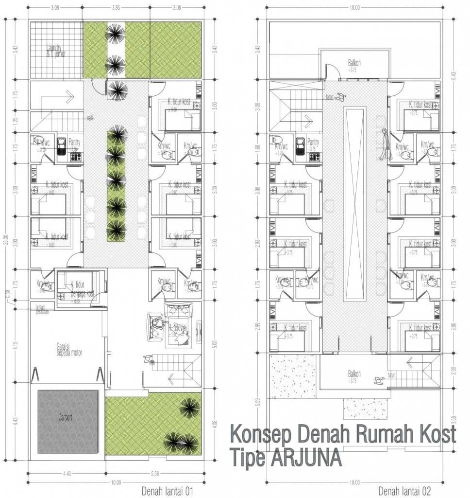 Desain Rumah Kost Kosan 3 Lantai Diatas Lahan 300 M2 Cek Bahan Bangunan