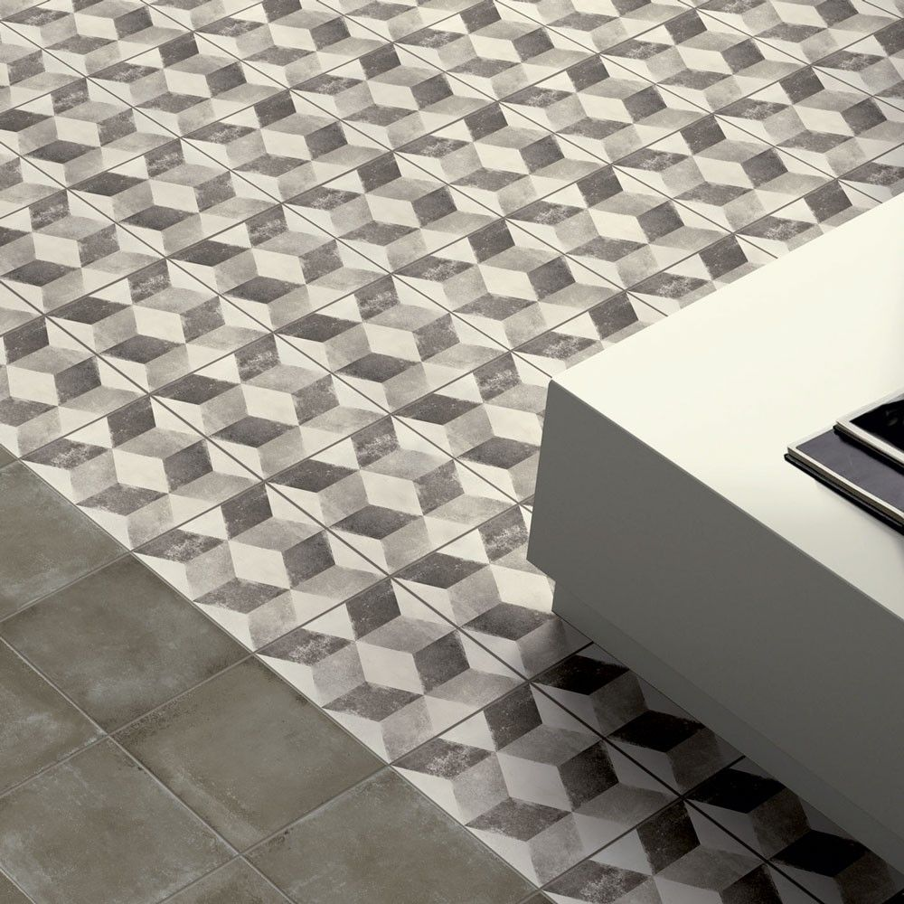 Vintage cube patterned tiles porcelain superstore home our vintage cube tiles are made in italy and come in shades of contemporary grey dailygadgetfo Choice Image