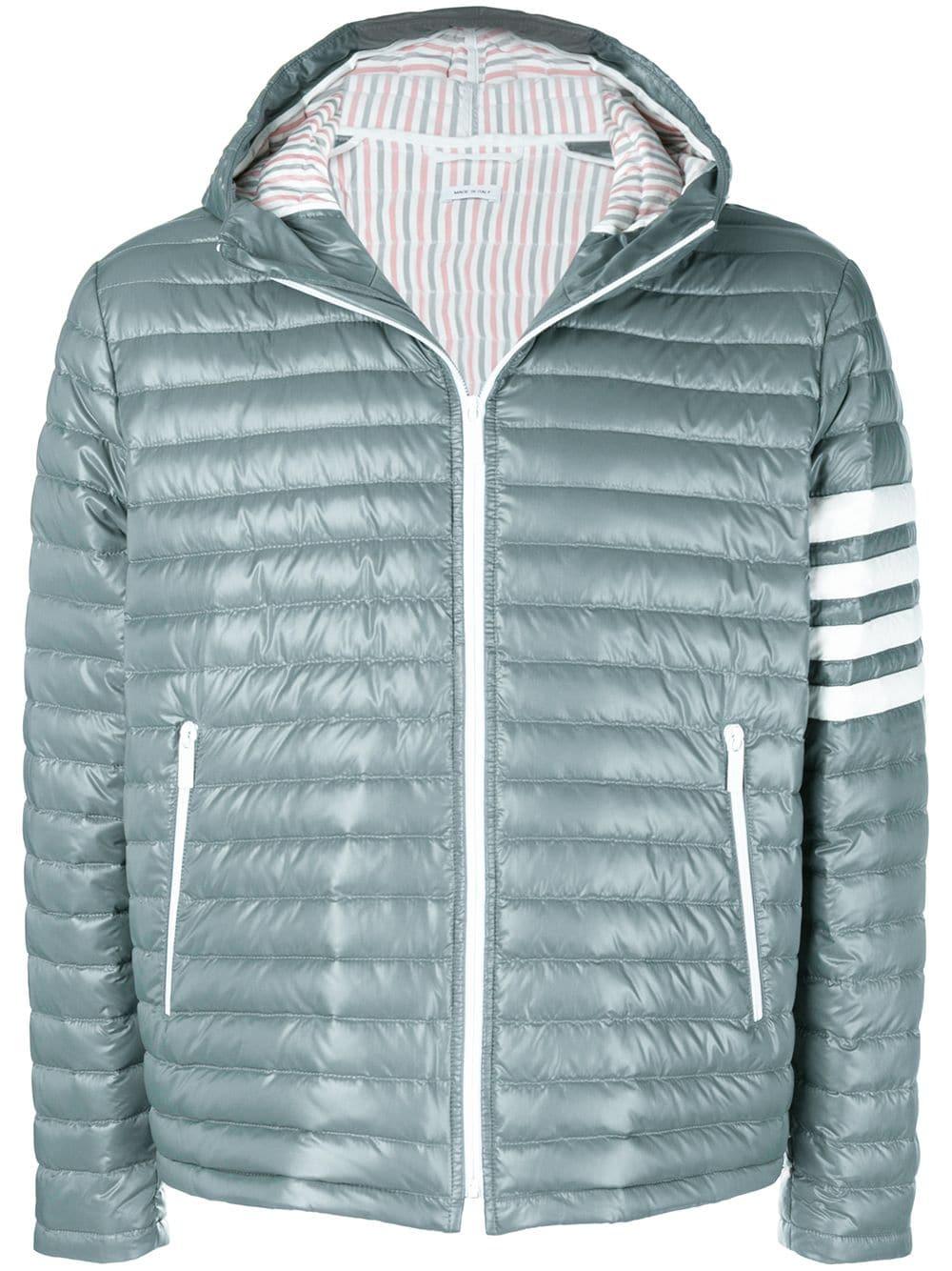 22b26b49f2 Thom Browne 4-Bar Stripe Satin Finish Quilted Down-Filled Tech Jacket - Grey