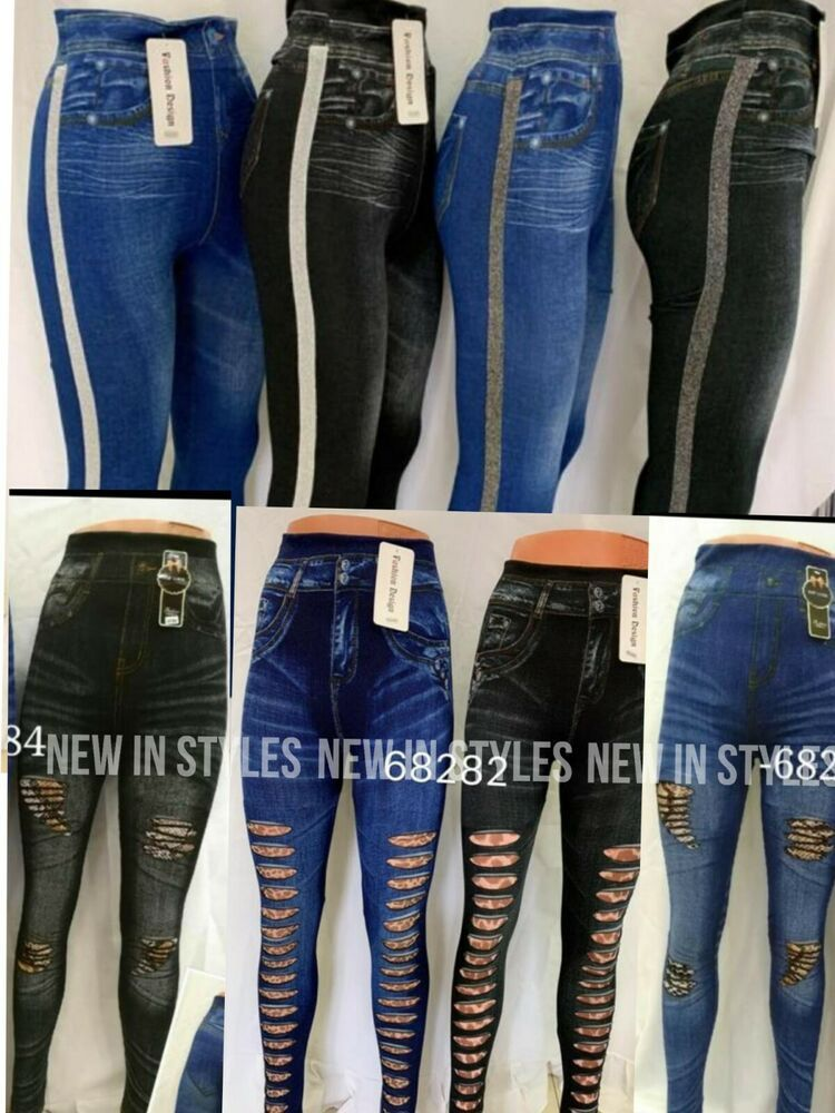 new womens ladies stretch skinny fit dark blue fashion jeans jeggings size 8-14