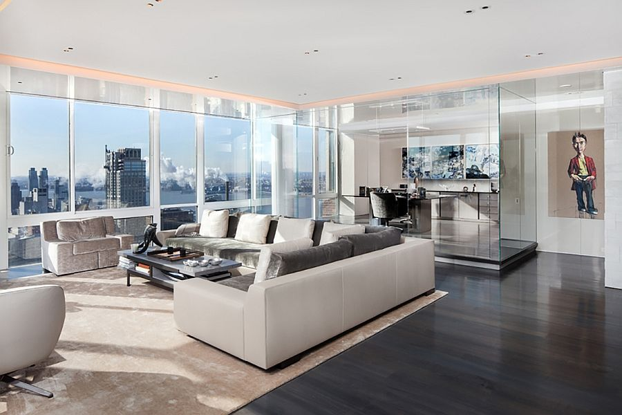 NYC Penthouse Living Room In White With Unabated Views Scintillating And Smart Lighting Shape Posh