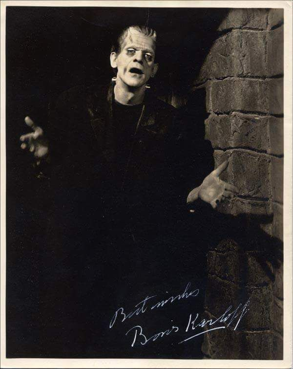 """A signed pic with Boris as The Monster in """"Frankenstein"""" (1931)."""