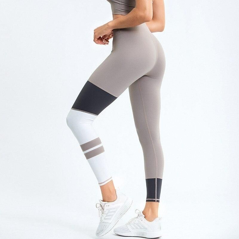 2020 New Women's High Waist Striped Patchwork Yoga Leggings Full Length Tight yoga pants perfect fit women Fitness Leggings