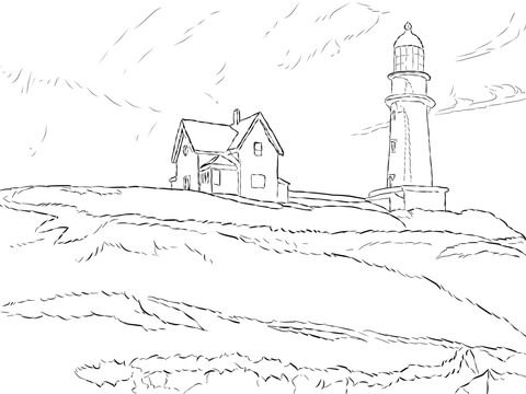 Lighthouse Hill By Edward Hopper Coloring Page From Famous Paintings