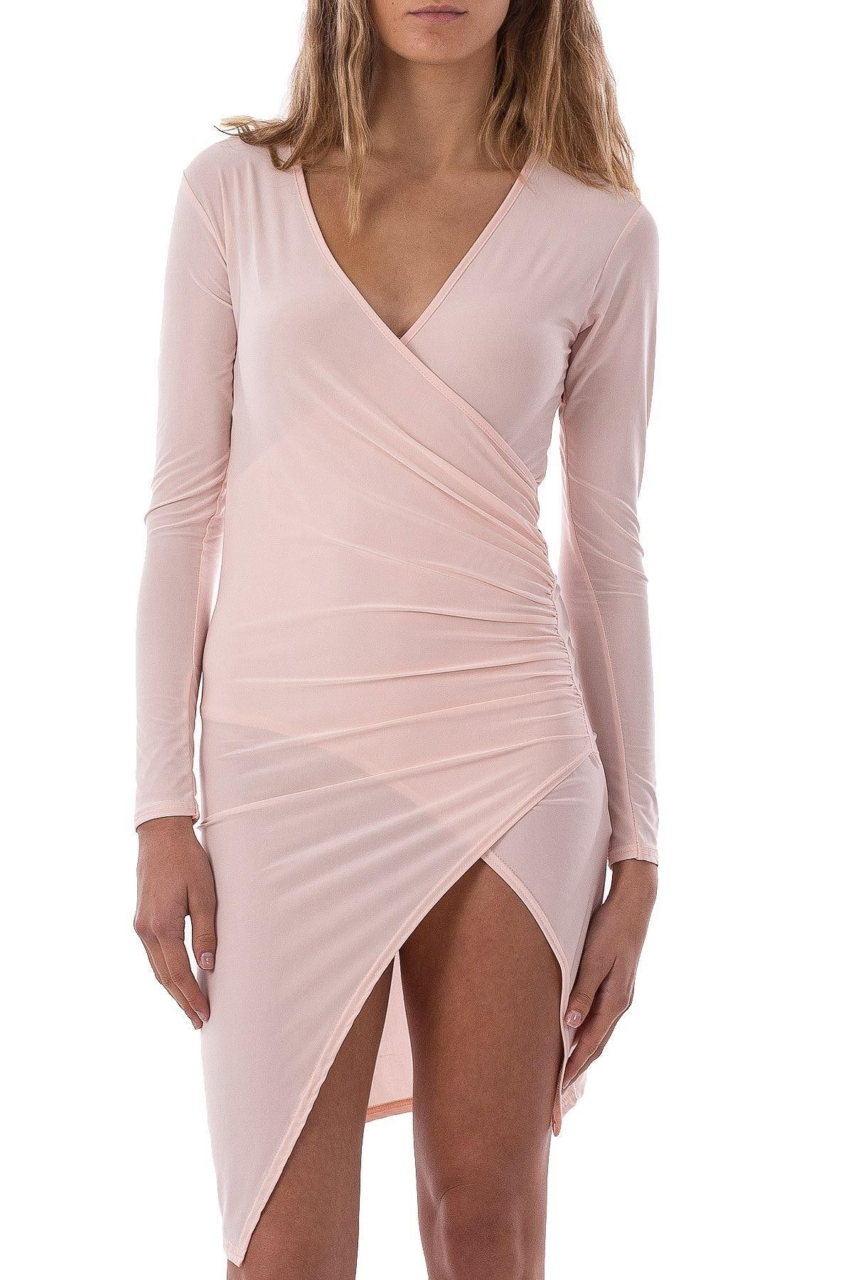 Wrap Mini Dress With Split