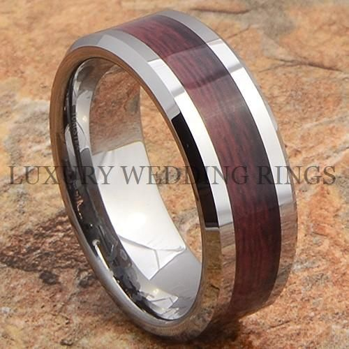 Tungsten Mens Ring Wood Wedding Band Infinity Anniversary Jewelry Size 6 13