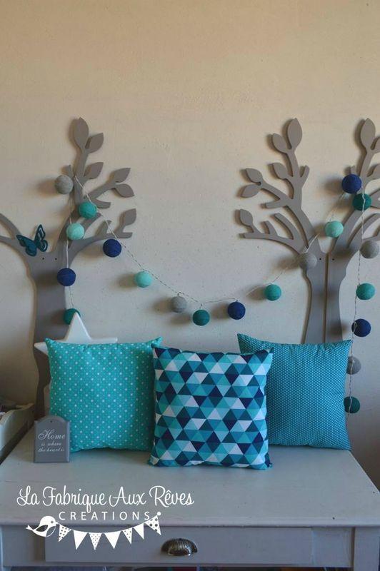 décoration chambre bébé garçon turquoise bleu marine gris scandinave ...