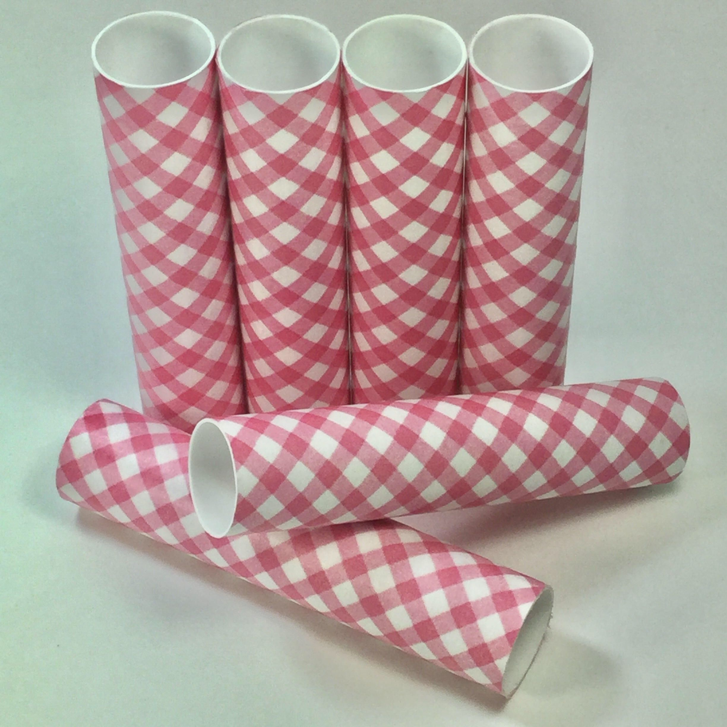 Pink and White Harlequin Diamond Check Plaid Candle Covers Set 6 ...