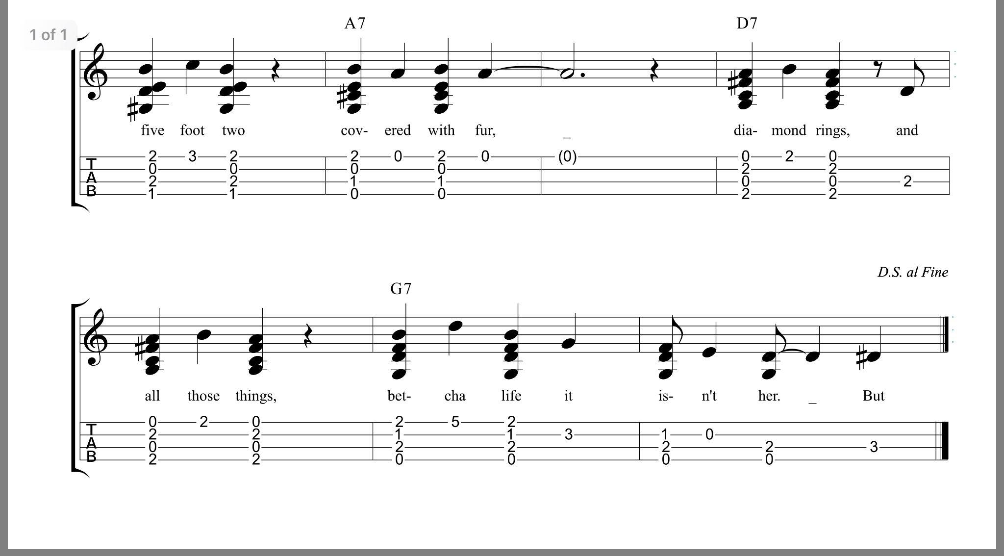 Five Foot Two, Eyes of Blue ʻUkulele Tab (Solo Arr. PDF) | Ukulele music, Music tabs, Ukulele